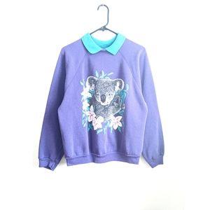 Vintage 90s Purple/Teal Koala Bear Grunge Sweater